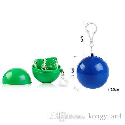 Spherical Raincoat Plastic Ball Key Chain Disposable Portable Raincoats Rain Covers Travel Tour Trip Rain Coat