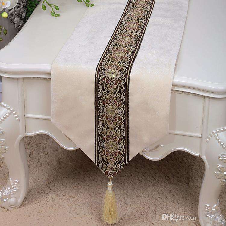 Classic Patchwork Lace Table Runner Velvet Fabric Dining Table Protective Pads Europe American style Rectangle Coffee Table Cloth 200x33 cm