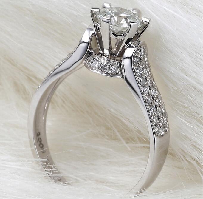 ZNM Jewelry Big Sale Real Solid Silver Ring Set 1 Ct Sona CZ Diamond