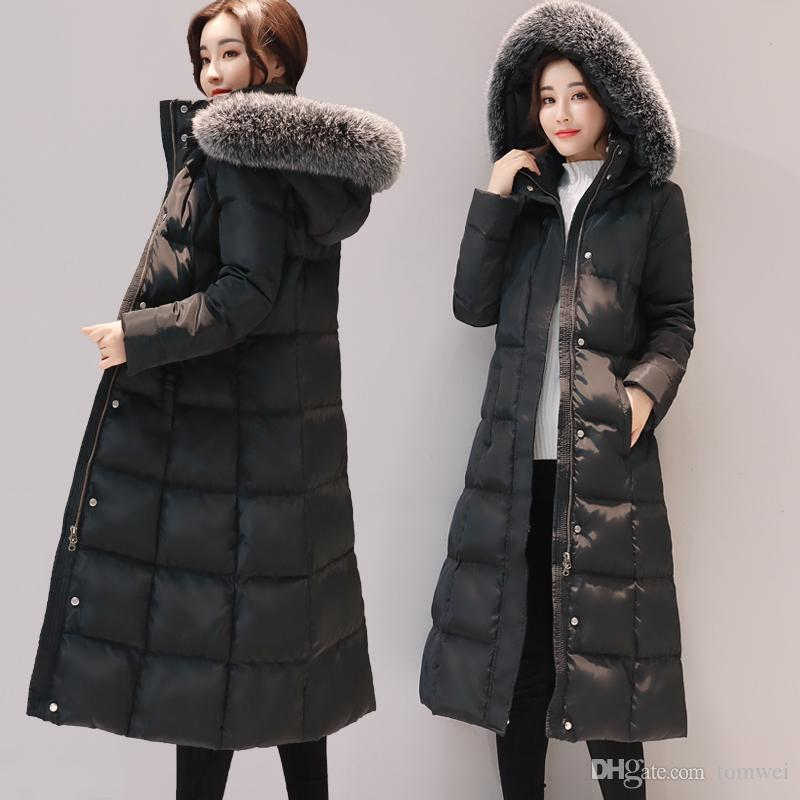 Long Down Jacket Women Winter Coats Natural Fox Fur Collar White ...