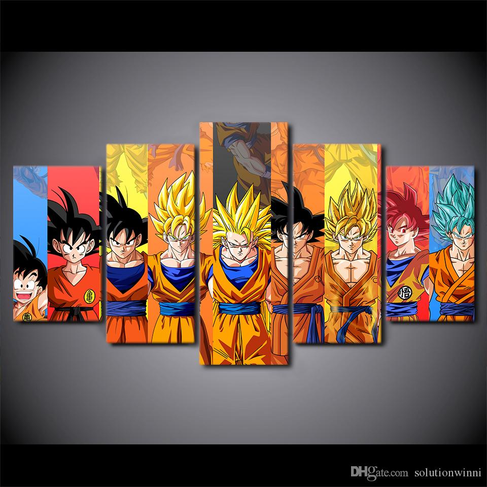 Grosshandel 5 Teile Satz Dragon Ball Z Goku Leinwand Gemalde