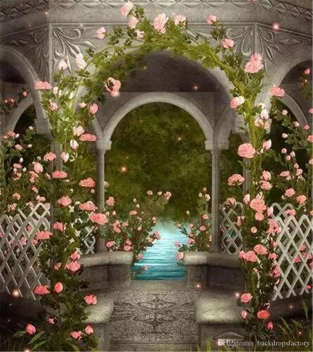 Vintage Pavilion Pink Flowers Garden Photo Backgrounds Outdoor River Backdrop Fantasy Wedding Photography Scenic Backdrops 8x10ft Flower