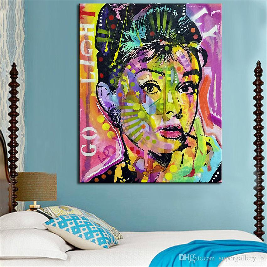 Pure Handpainted Modern Abstract Graffiti Portrait Art oil painting Audrey Hepburn,Home Decor On High Quality Canvas size can be customized