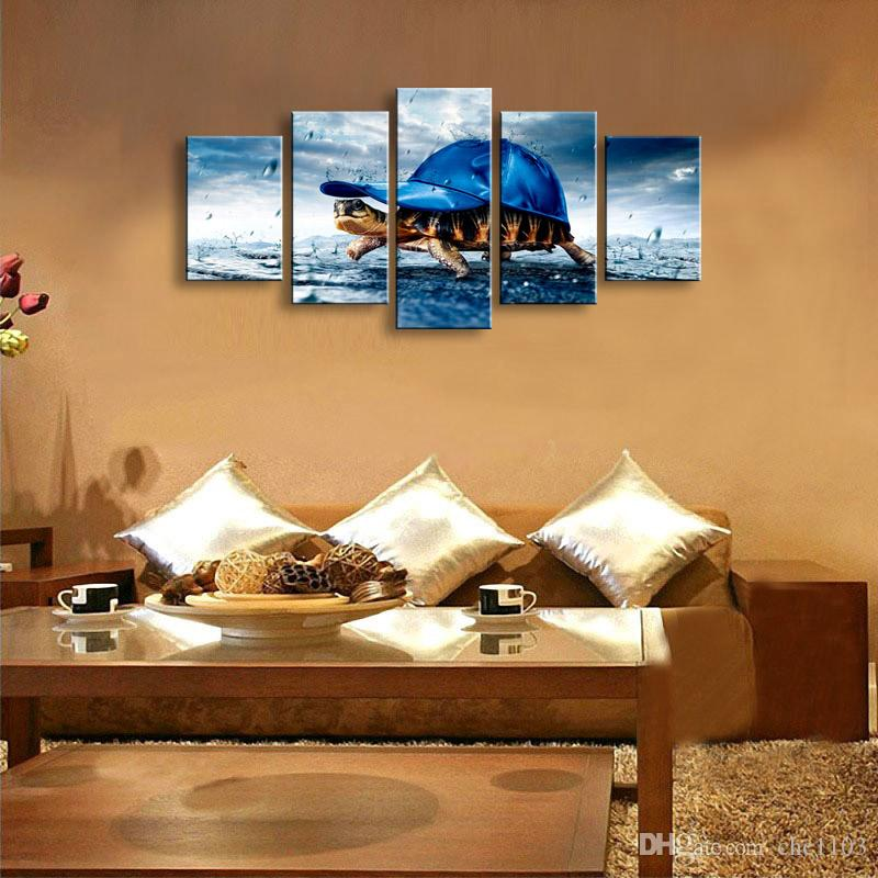 5 Panel Sea turtles Painting Canvas Wall Art Picture Home Decoration Living Room Canvas Print Modern Painting--Large Canvas Art Cheap SD-009