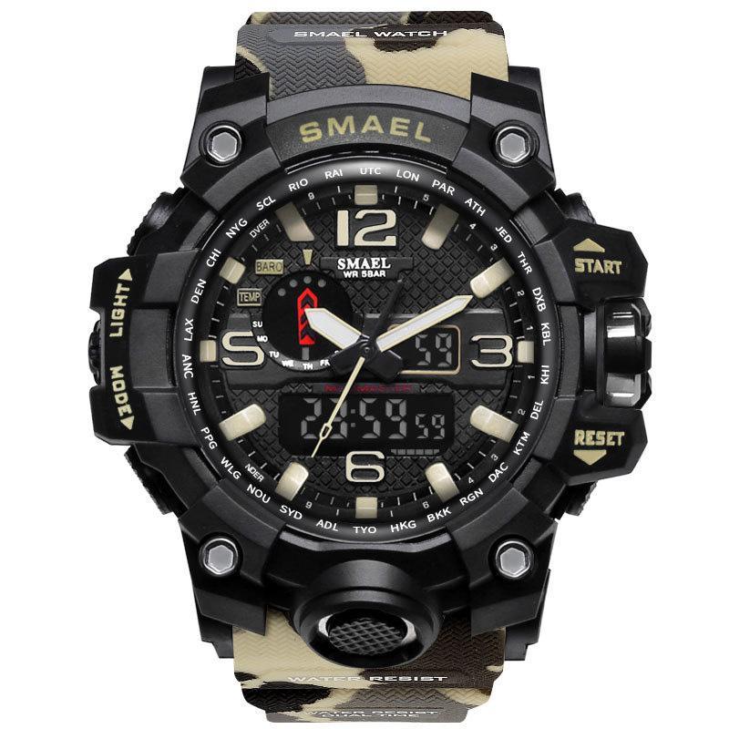 Compre SMAEL Marca Sport Relojes Hombres Dual Time Camuflaje Reloj Militar  Ejército LED Reloj De Pulsera Digital 50M Impermeable S Choque Hombres Reloj  ... 93e137484790