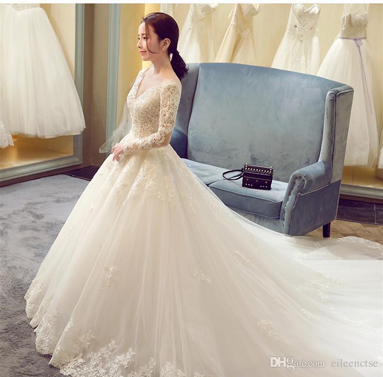 989ff8e320c1 Plus Size Wedding Dress XXL/XXXL/XXXXL Lace V Neck Floral Capped Ball Gown  Long Sleeve Fat Women Wedding Dresses Short White Wedding Dresses Wedding  Dress ...