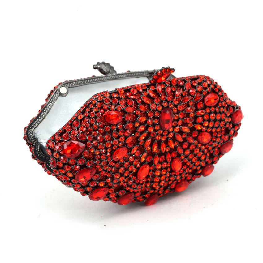 Women Socialite Red Rhinestones Crystal Evening Clutches Bag Wedding Dress Bridal Diamond Chains Shoulder Handbags Purses