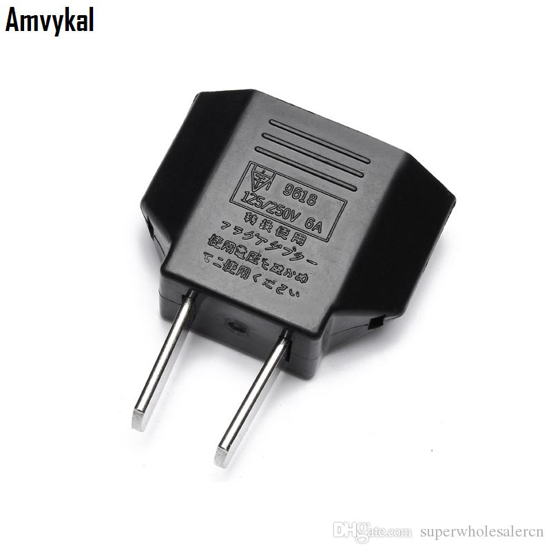 Amvykal Universal America USA Travel AC Power Electrical Plug Socket 2 Pins Round EU To US Plug Adapter Converter