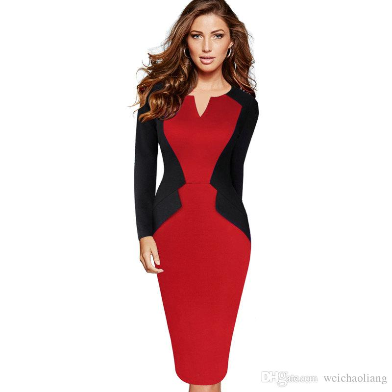 9869cc828a New Fashion Womens Winter Patchwork Mature Stylish Casual Work Full Sleeve  Small V-Neck Bodycon Women Office Pencil Slim Dress