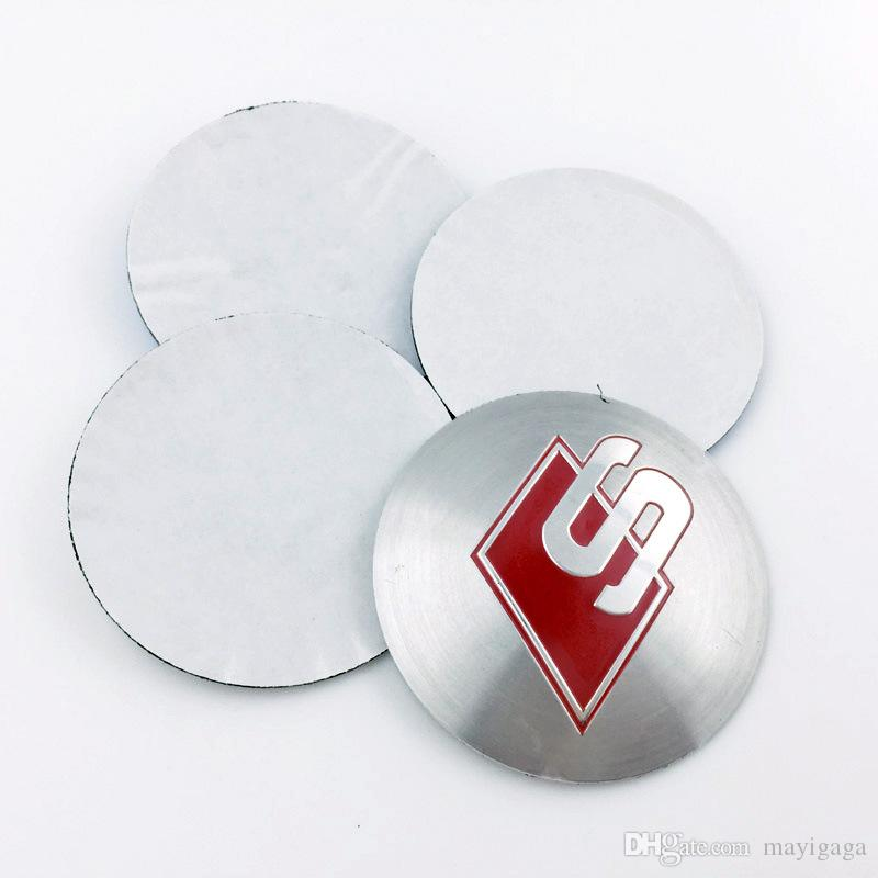 Aluminium Sline Wheel Hub Center Caps Emblem RS S Logo Wheel Sticker For Audi A3 A4 A5 A6 A8 Q3 Q5 Q7 TT