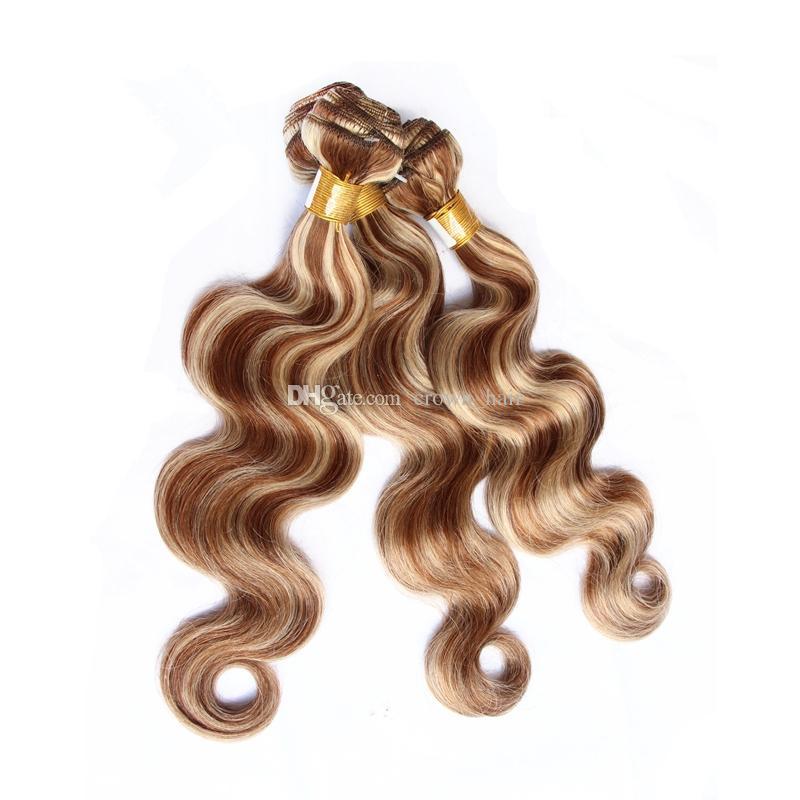 Ombre brasiliane chiare del corpo delle estensioni dei capelli del Virgin dell'onda del corpo # 8 e piano del Mix 100% capelli umani 3 pacchi