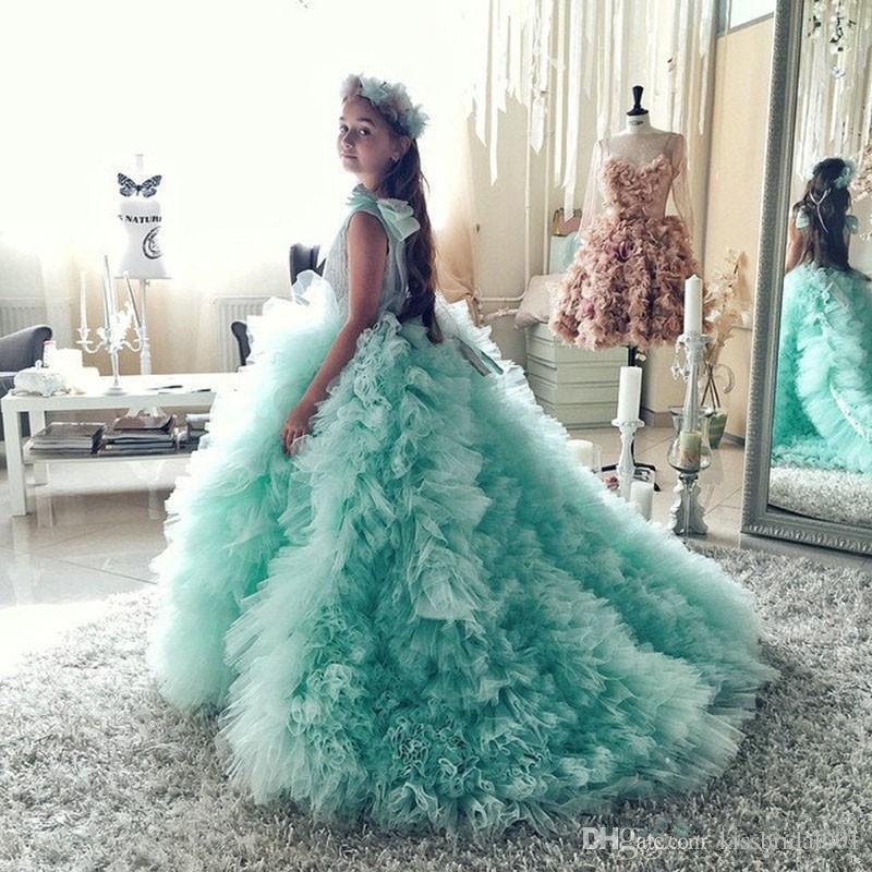 Güzel Nane Çiçek Kız Pageant elbise Kız Glitz Mahkemesi Tren Yay Ile Sapanlar Ile tül çocuk Gelinlik Çocuk Abiye 201