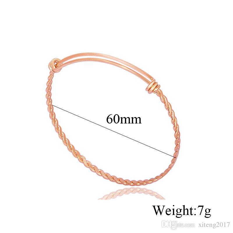 Toptan gül altın altın renkleri tel bilezikler DIY titanyum çelik takı kablo tel bileklik ayarlanabilir genişletilebilir bilezik ücretsiz kargo