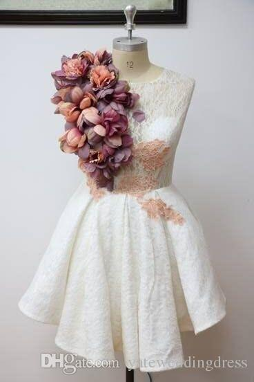 Sweety White Homecoming Dresses With Hand Made Flowers Jewel Prom Dresses Back Zipper With Lace Applique Short Custom Made Formal Party Gown