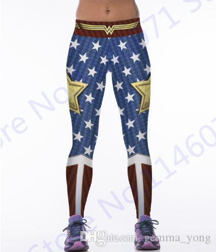 Wonder Woman Yoga Compression Pants Red Fitness Leggings Taille Élastique Sport Collants Femmes Blue Butter Lift Polyester Pantalon