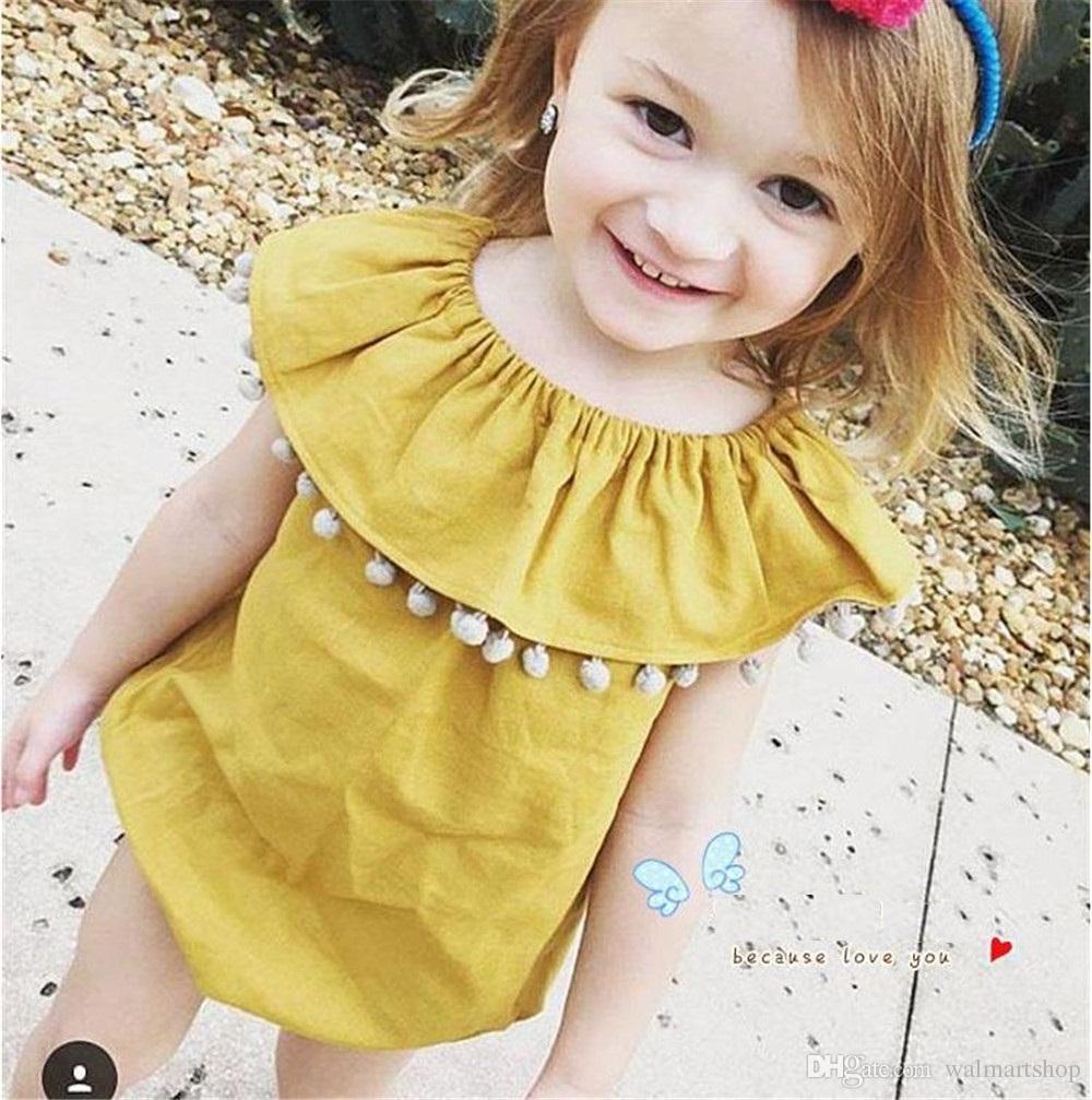 1c23b4b02c0 Best Yellow Pure Cotton Creeping Dress Round Collar A Sleeveless Leotard Cute  Girl Cotton Baby Clothes Kid243 Under  9.95