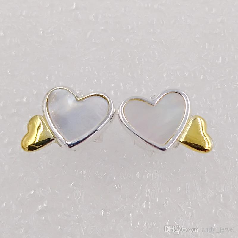 Luminous Hearts Stud Earrings Made of 18k gold plated & 925 Sterling Silver Fit European Pandora Style ALE Stud Jewelry Hot Sale