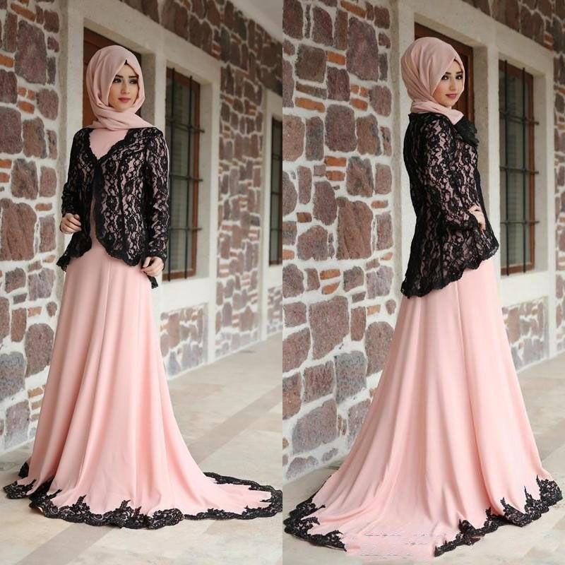 65a66f583fc62 Modest Muslim Evening Dresses Long Sleeves High Neck A Line Court Train  Pearl Pink Chiffon Black Lace Muslim Arabic Dress Formal Gowns Pink Dresses  Elegant ...