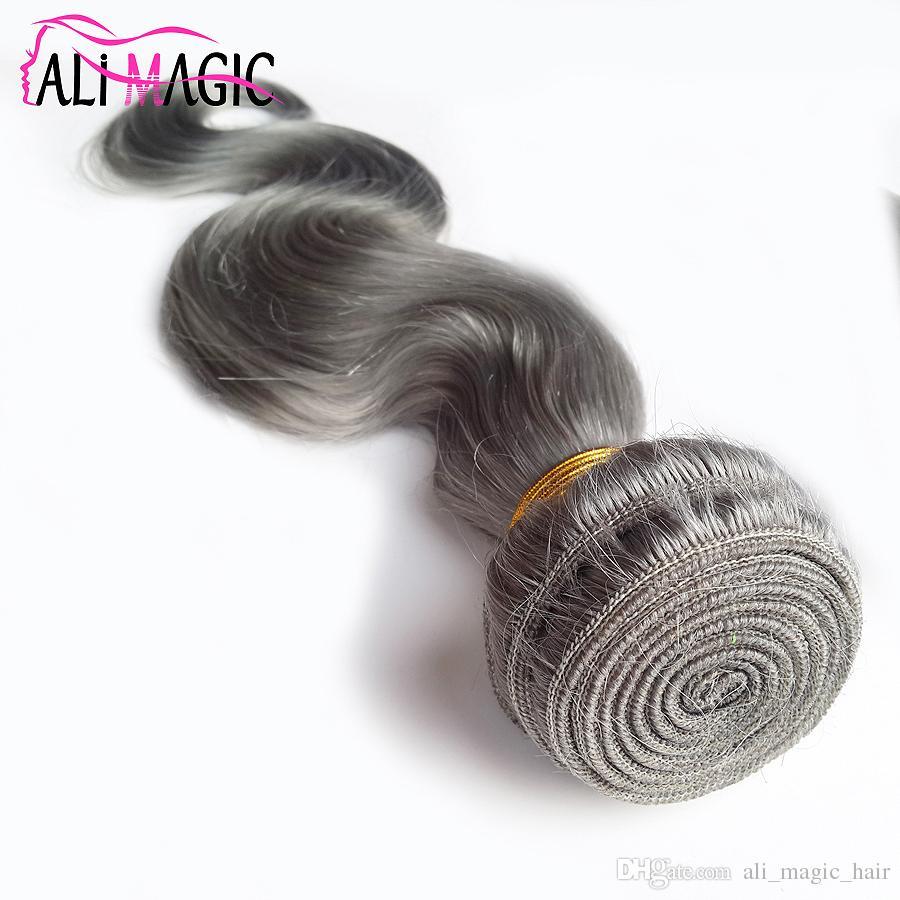 Ail Magia Grey Cabelo Humano Weave Silver Grey Hair Extensions OFERTA DE FÁBRICA peruana indiana da Malásia Corpo brasileira Cabelo Ondas 3 Pacotes
