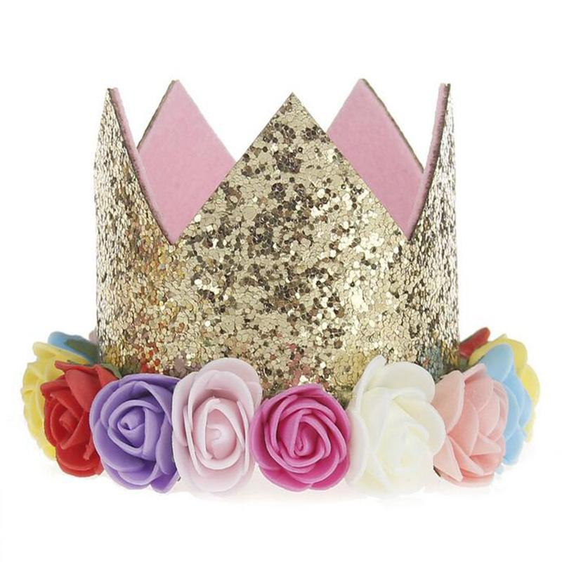 1st Baby Girls Crown Rainbow Flower Baby Girls Headband Glitter Gold Birthday Kids Hair Accessory Smash Cake Baby Birthday Hat