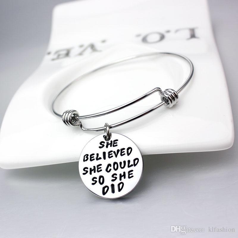 2017 nuevas pulseras Inspirational pulseras de encanto al por mayor de acero inoxidable brazalete expansible para niñas como regalo envío de la gota libre