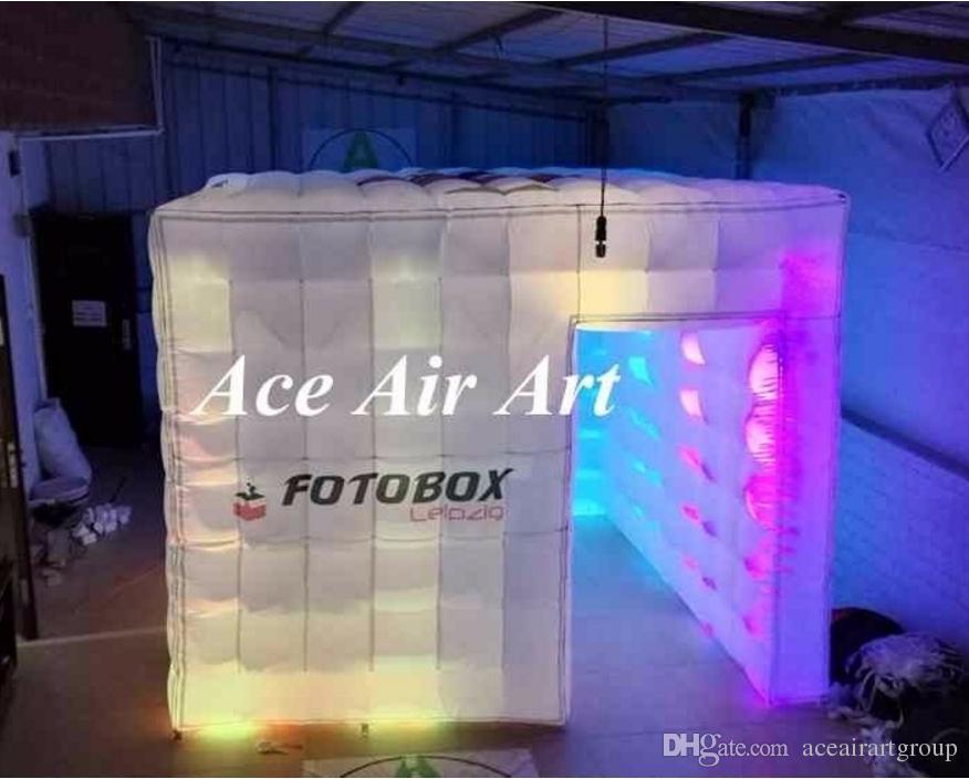 Cabine inflável da foto da propaganda gigante de 10ft com luzes conduzidas, barraca inflável da cabine do cubo com logotipo para o casamento