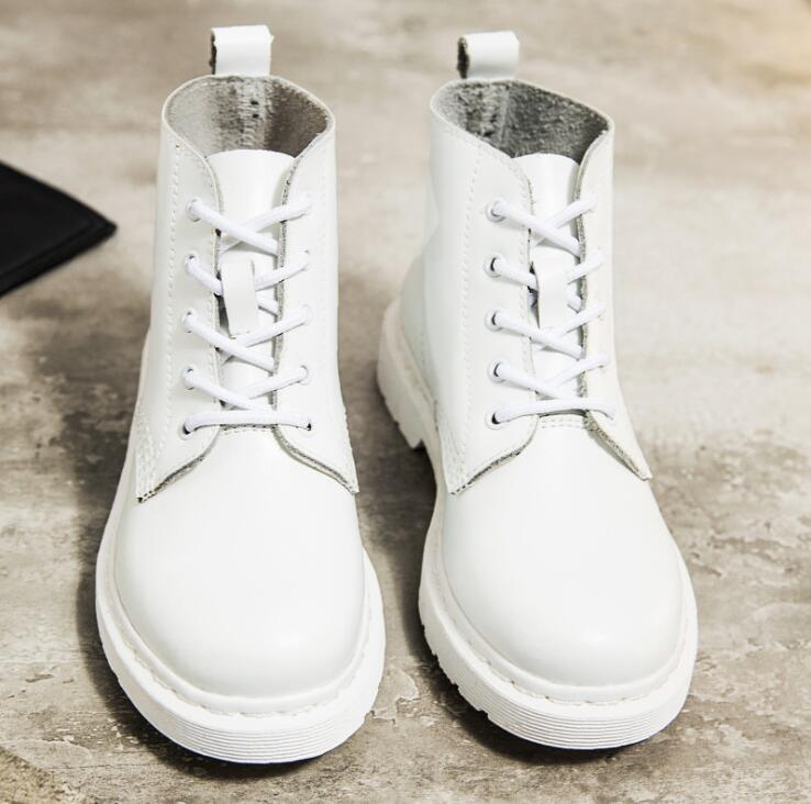 Women's Autumn Shoes Brand Martin Boots Women Men White Boots High Quality Work Boot Flat Heel Ankle Boots for Couples