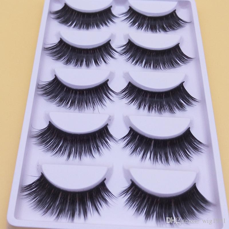 Thick Makeup Long Fake Eyelashes Quality Handmade False Eyelashes Natural Fiber End Of Eye Slim Models Thick False Eye Lashes