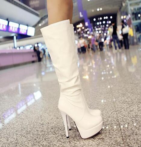 Women elegant knee boots 13 cm high heel knight boots with waterproof Martin boots ladies sexy nightclub shoes