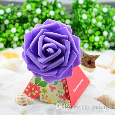 European style purple pink flower color Pearl paper triangle pyramid Wedding box Candy Box gift boxs wedding favour boxes THH1
