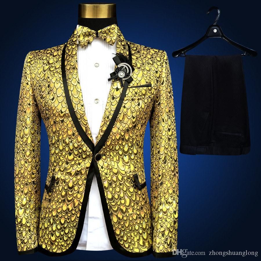 Online Cheap New Brand Fashion Men Suits Gold Silver Yellow Blazer ...