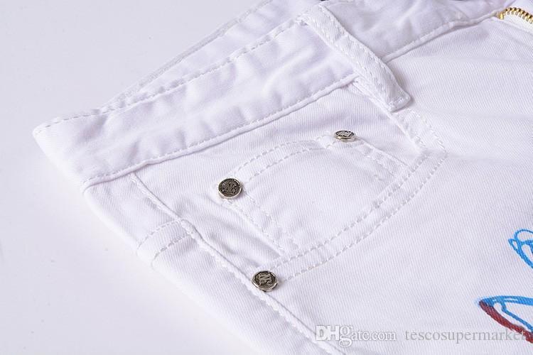 2017 Hot Men 's designers Jeans 3d wolf lim fantaisie jeans pour hommes Pantalons Hommes gothique Pantalons Mâle Long Jeans Pantalon Noir