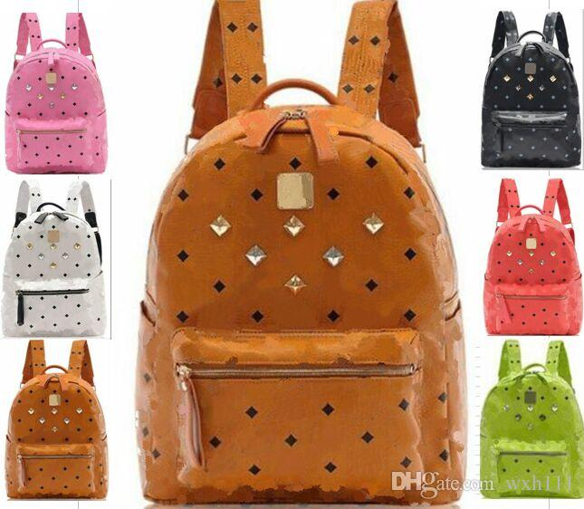 11df76376b6d Men Women Rivet Backpack Men Fashion Leather Bag Women Designer Bags Men  Leather Women Fashion Bags College Student Bag Shoulder Bag Backp Toddler  Backpack ...