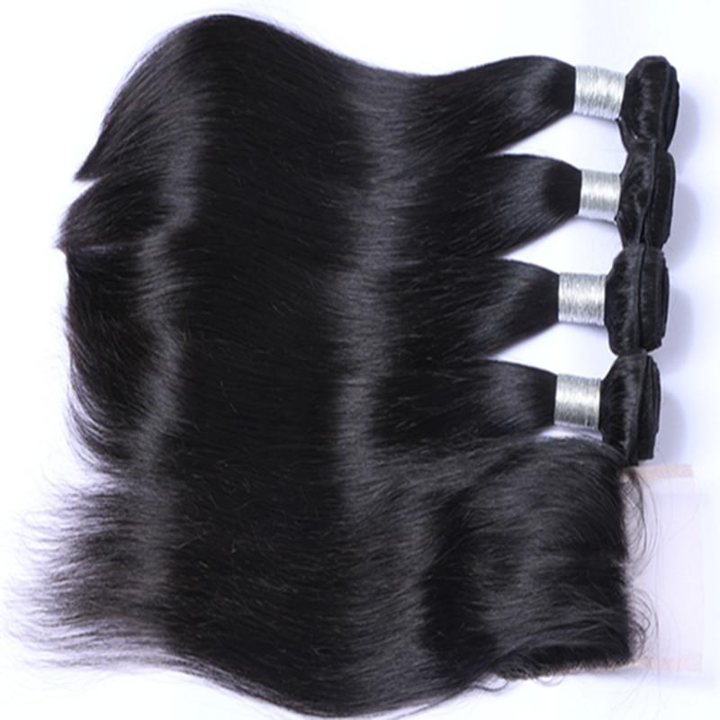 Malaysian human Hair With Closure Unprocessed Human Hair With Lace Closure Malaysian Straight Hair With Closure