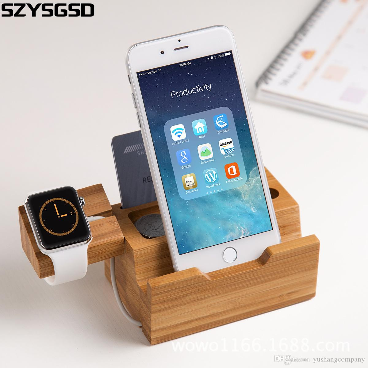 Wood bamboo charging dock charger station bracket cradle stand holder for iwatch for apple iphone 5 5s 6 6 plus 7 plus
