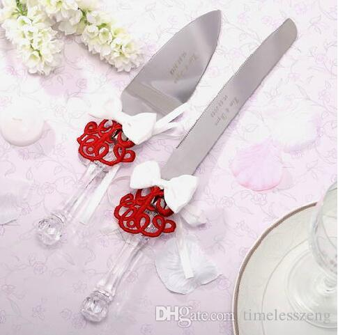 Свадьба из нержавеющей стали кленовый лист любовь масло нож с пряжей мешок крем нож может персонализировать настроить простую информацию