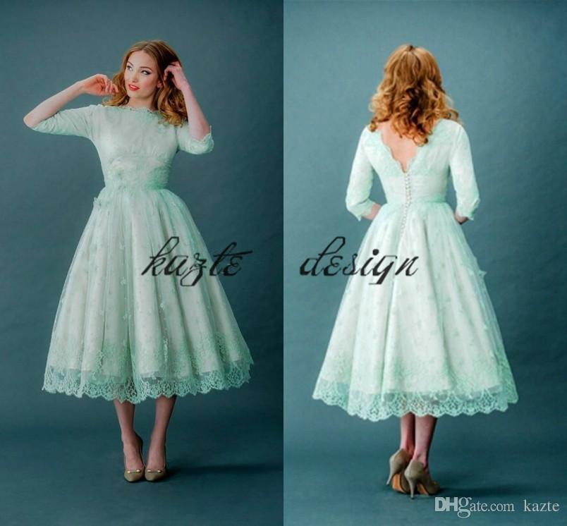 acd52759e5ea Vintage 1920s Tea Length Prom Dresses With Half Sleeve 2018 Modest Retro  Mint Green Lace Low Back Plus Size Short Evening Formal Wear Dress Gold  Evening ...