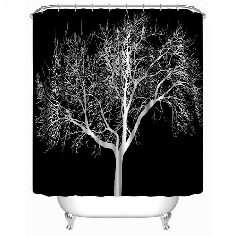 Wholesale- SenHome 180X180cm Latest Design Black Snow Big Tree Printed Polyester Shower Curtain Bathroom Curtain Hot Selling