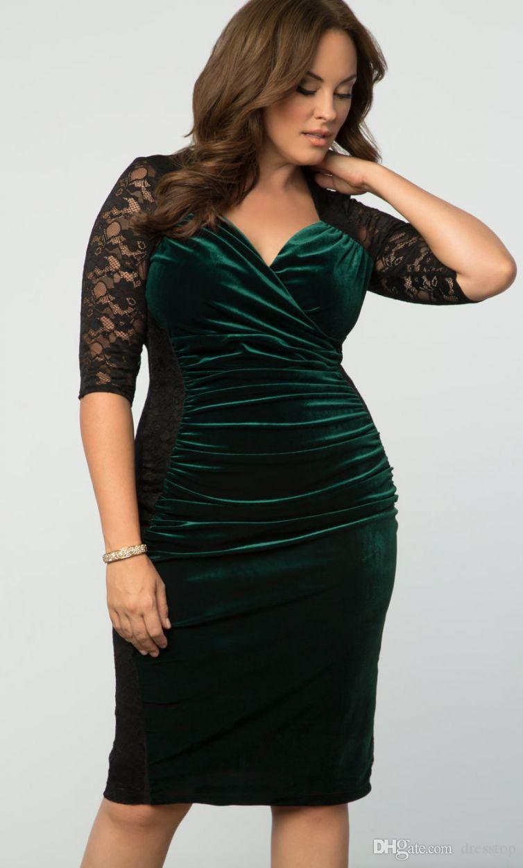 Charming Velvet Plus Size Evening Dresses Lace Mother Of The Bride Dress With Half Sleeves Sheath Knee Length Formal Gowns
