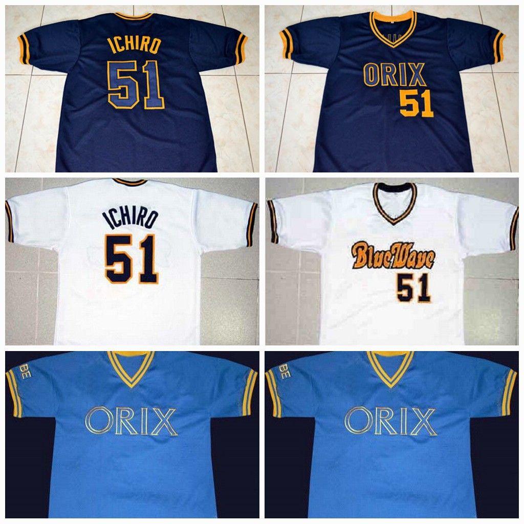 1941475f4cf ... Mens 51 Ichiro Suzuki Jerseys Orix Blue Wave Throwback Baseball Jerseys  100% Stich From Mens Seattle Mariners 51 Ichiro Suzuki Gray Road Stitched  MLB ...
