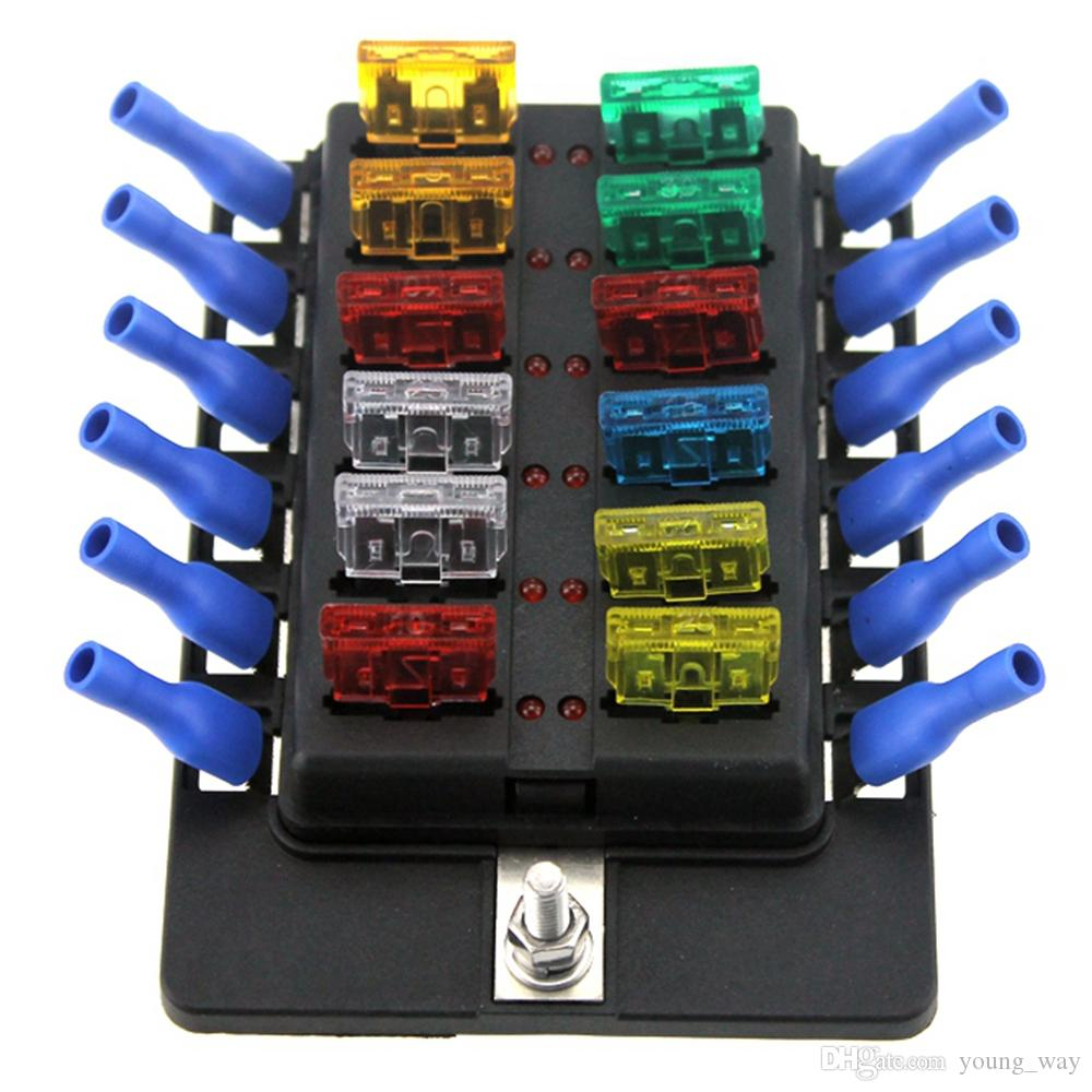 12 way led boat car blade fuse box truck 12 way led boat car blade fuse box truck rv fuse block holder with Camper Fuse Panel at n-0.co