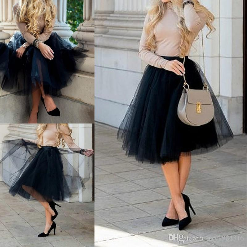 2018 black tulle skirt short party skirt new arrival casual summer ...