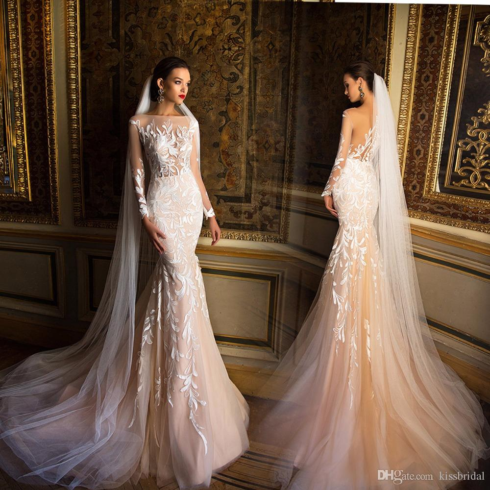 Sheer bodic mermaid lace wedding dresses 2016 champagne for Wedding dresses with sleeves for sale