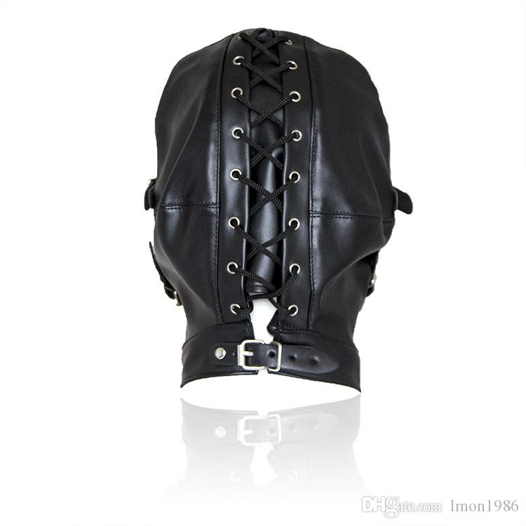 Top Grade Leather Sex Toys Headgear With Mouth Ball Gag BDSM Erotic Leather Sex Hood For Men Adult Games Sex SM Mask For Party Cosplay