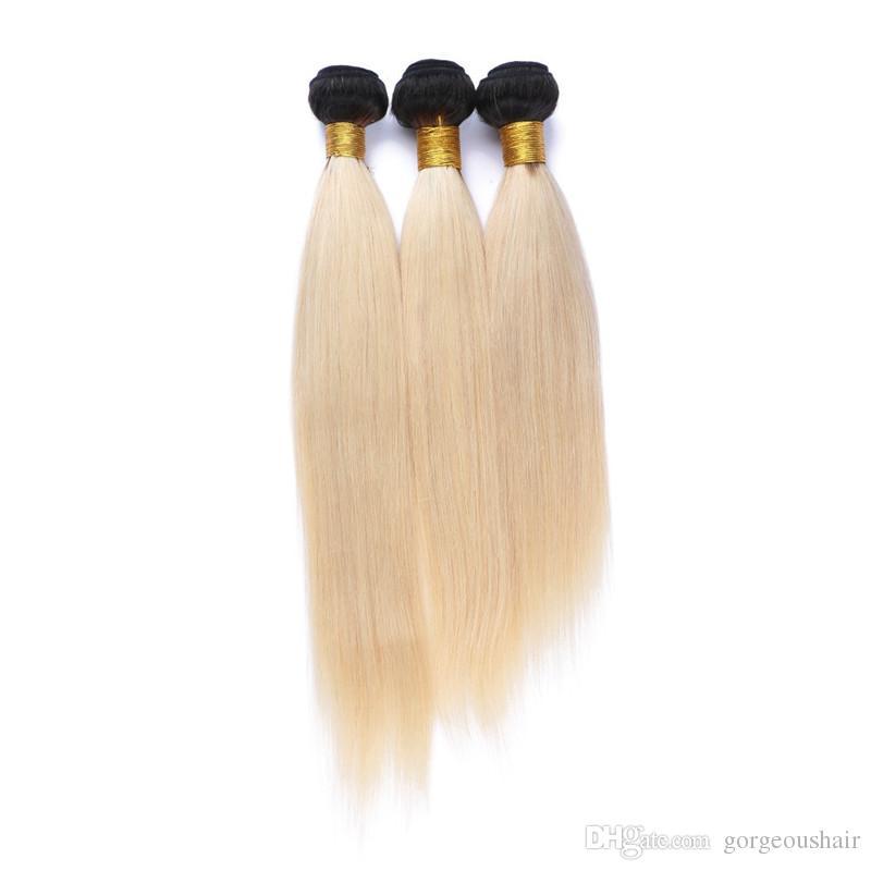 Brazilian #1B/Blonde Ombre Hair Weave Silk Straight Virgin Hair Bundles Top Quality Dark Root Blonde Human Hair Extensions Straight