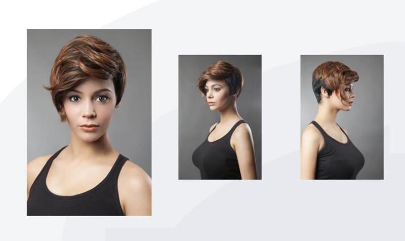 XT742 Parrucche sintetiche marroni corte donne bianche nere Parrucca bionda Parrucca ad alta temperatura Radici scure Capelli ricci Peluca Corta Rubias Perruque