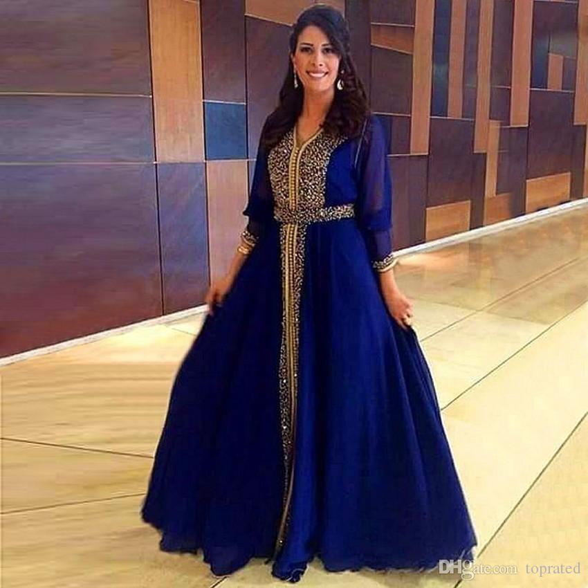 Lüks Sparkly Altın Boncuklu Müslüman Abiye 2019 Dubai Kaftan Örgün Parti Fas Kraliyet Mavi Gelinlik Modelleri Kat-Uzunluk Anne törenlerinde