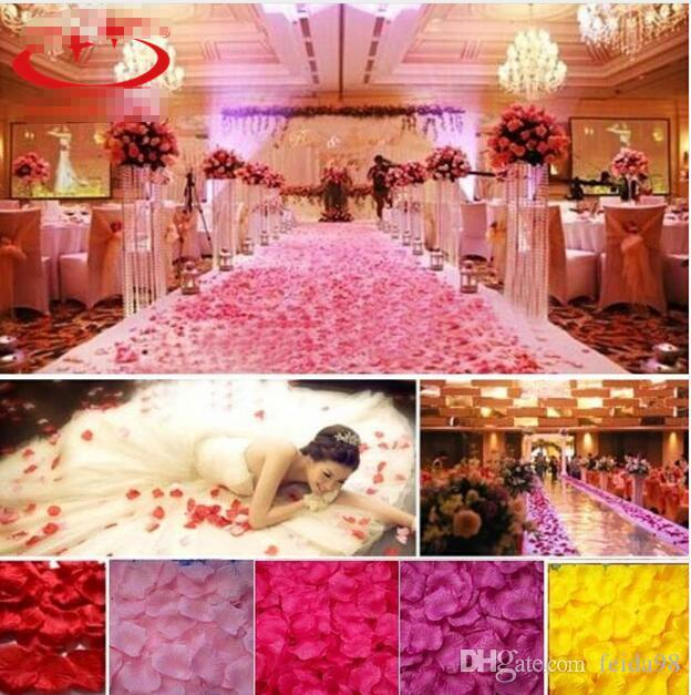 Silk Rose Petals Leaves Artificial Flowers Petals Wedding Decoration Party Decor Festival Table Decorative 50bagG1213