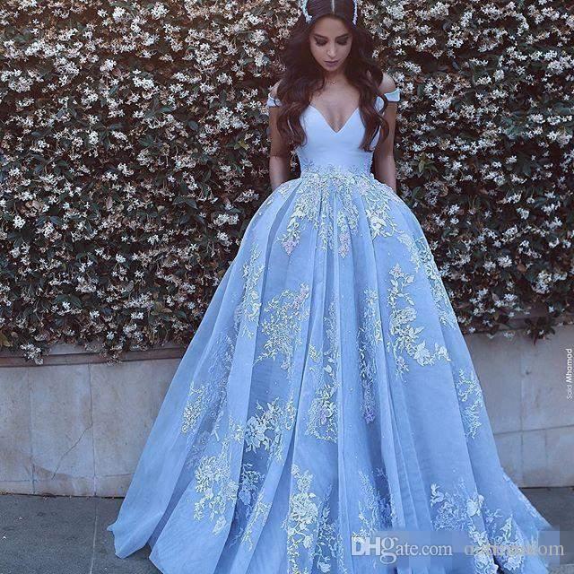 2019 Саид Мхамад Вечерние платья светло-синего цвета с открытыми плечами Аппликации без спинки пышные линии Пром платья на заказ