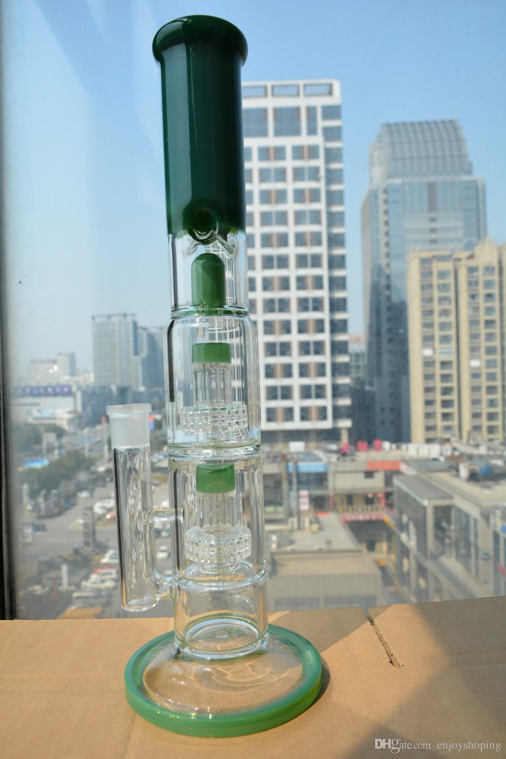 Dick 2 Schicht Perc Birdcage Perkolator Matrix Perc Gerade Rohr Bongs Grüne Kuppel Perkolator Wasserleitungen Freies Verschiffen